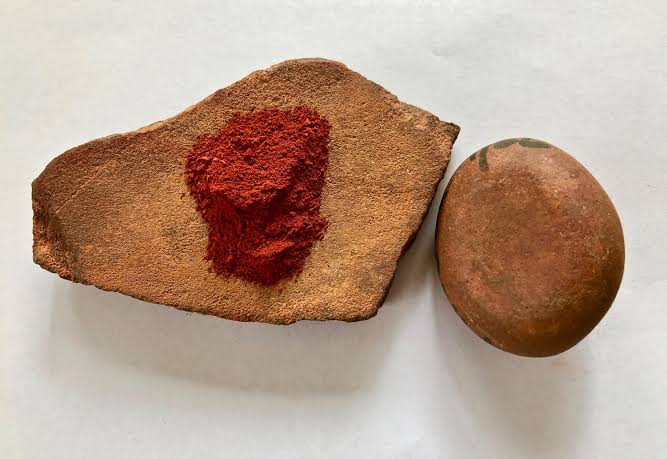 Red ochre Sample On Stone