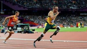 Oscar Pistorius, the first amputee to compete in track events at the Olympics.